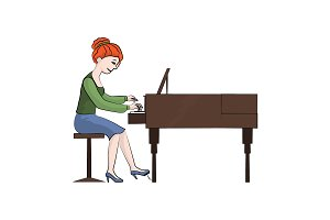 The girl (woman) plays the piano.