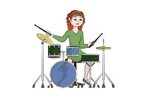 The girl (woman) plays the drum set.