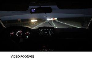 Car driving at night early morning