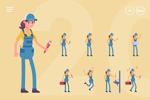 Female Plumber Character Set (20 Pos
