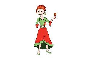 A girl (woman) plays maracas. Vector