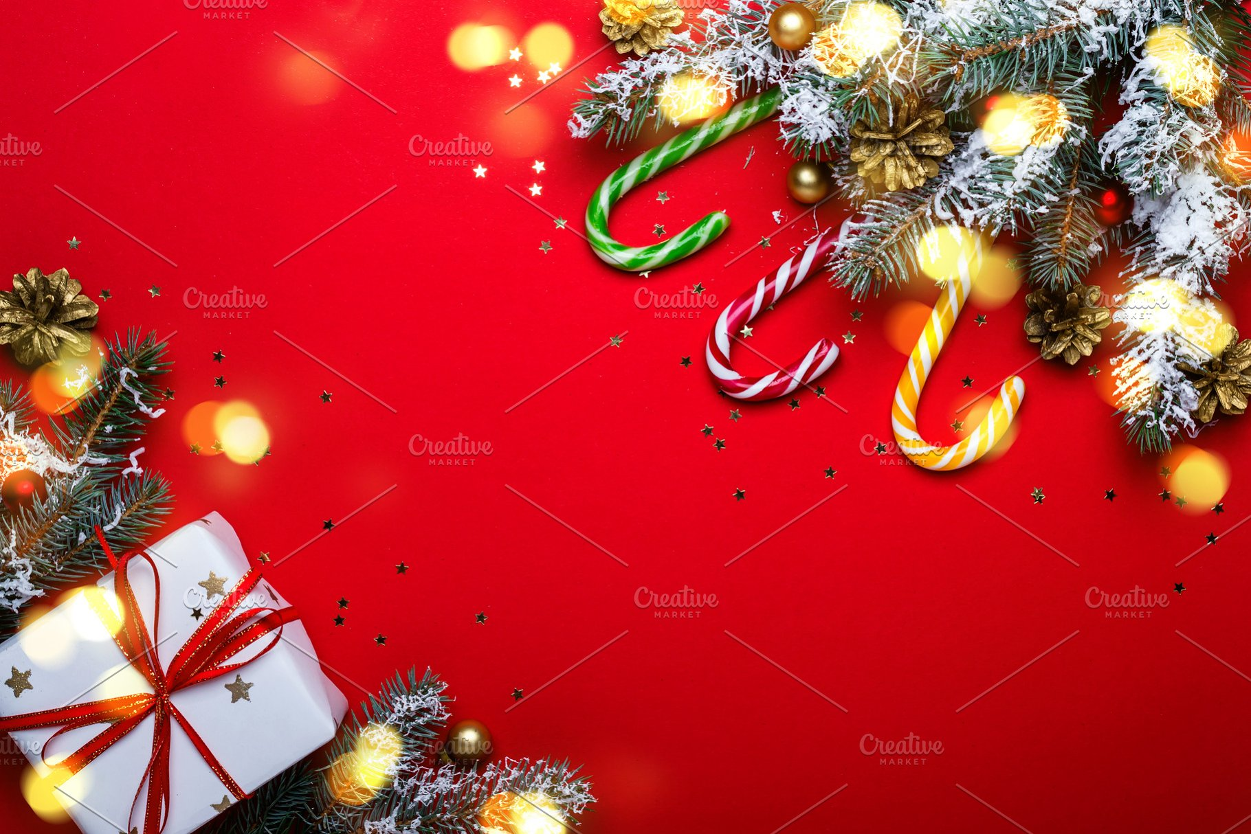 Red Christmas Background Frame Made