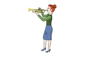 The girl (woman) plays the trumpet.
