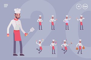 Male Chef Character Set (20 Poses)
