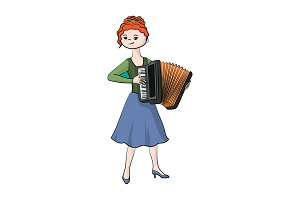 Girl (woman) plays the accordion.