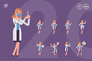 Female Doctor Character Set (20 Pose