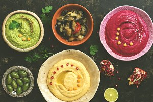A variety of colored hummus, classic