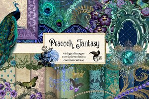 Peacock Digital Scrapbooking Kit
