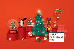 Christmas greetings template vector