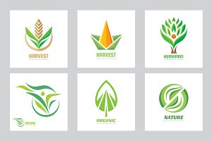 Abstract Green Nature Logo Set
