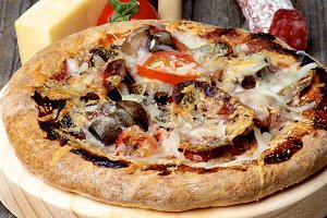 Pizza with Mushrooms and Salami