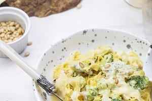 pumpkin pasta with broccoli