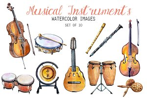 Watercolor Instruments Clipart