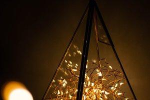 garland in glass geometric terrarium