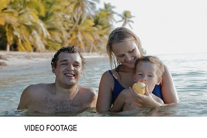 Family of three relaxing sea water