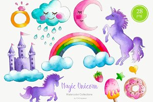 Watercolor Unicorn Clipart Nursery