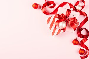 Christmas gifts & red ribbon