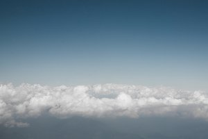 Himalaya mountains over the clouds