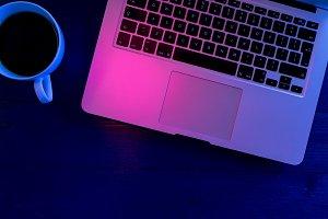Laptop computer keyboard night