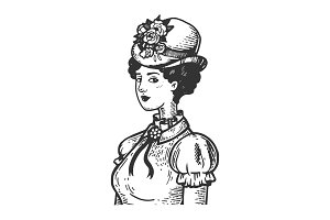 Old fashioned woman engraving vector