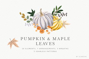 Pumpkin & Maple leaves