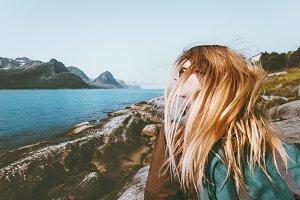 Woman tourist at Norway seaside