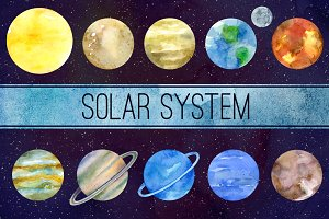 Solar system Watercolor clipart
