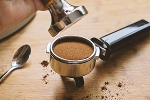 Making coffee in a barista concept