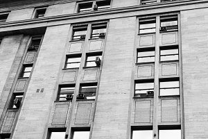 Vintage Building Detail Black White