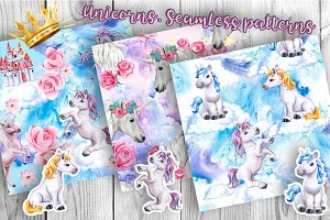 Unicorns. Seamless Pattern