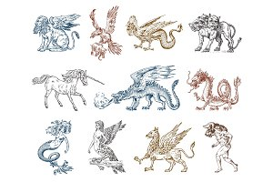 Set of Mythological animals