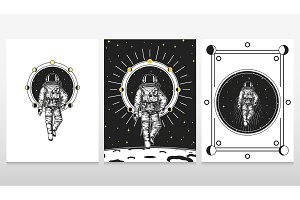 astronaut spaceman cards. Moon