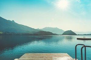 Resort lake in alpine mountains