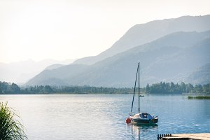 Landscape with yacht at summer morni