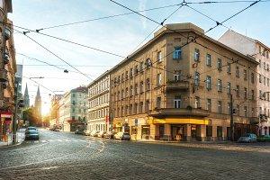 Sunny city street in Prague