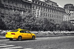 Yellow taxi selective color