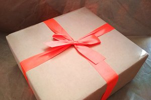 Craft cardboard paper box gift bow