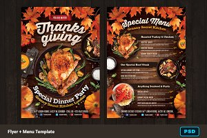 Thanksgiving Dinner Flyer + Menu
