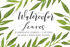 Watercolor Leaves Graphics Pack