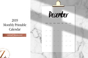 2019 Monthly Printable A4 Calendar