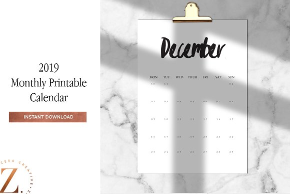 2019 monthly printable a4 calendar stationery templates creative