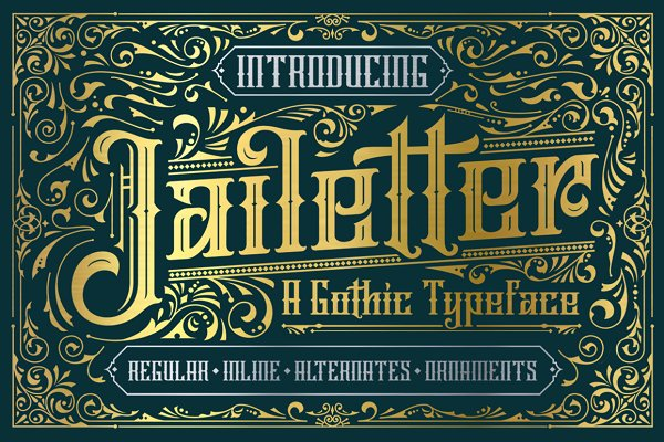 Blackletter Fonts: Graptail - Jailetter Typeface + Extras