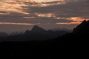 Dramatic sunset in Dolomites