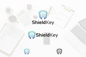 Shield Key Hole Security Logo