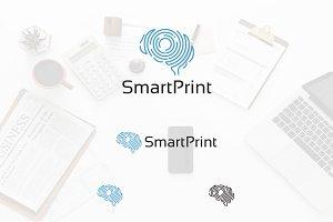 Smart Fingerprint Scanner Brain Logo