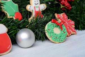 Close up view of Christmas cookies w