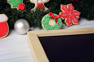 Colorful Christmas cookies with empt