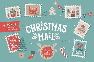 Christmas mail. Stamps and stickers