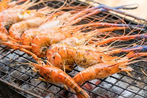 Grilled of Shrimp on stove seafood