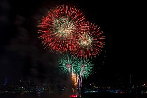 Colorful fireworks of various colors